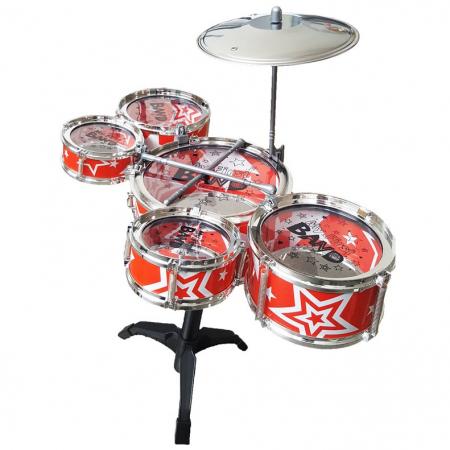 Set de tobe pentru copii Jazz Drum, cu scaunel, rosu [1]