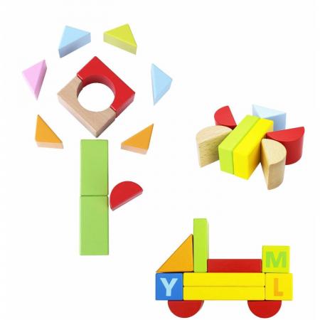Cuburi constructie lemn litere cifre, 80 piese [2]