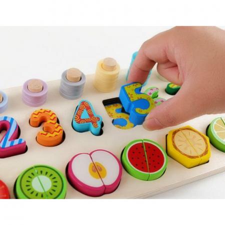 Jucarie educativa, interactiva, din lemn, cu numere si forme, Montessori, E00056 [2]