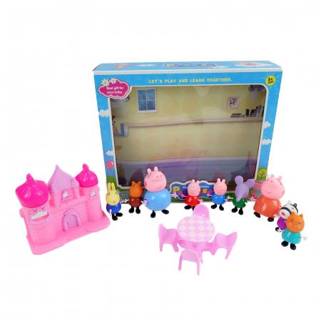 Set figurine Peppa Pig cu castel, 9 figurine, 7 cm, multicolor [1]