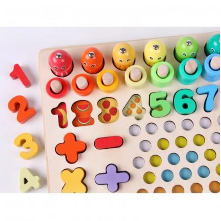 Joc lemn 6 in 1 cu cifre, forme geometrice, logaritmic cu stivuire piese, pescuit magnetic, indemanare si sortare [5]