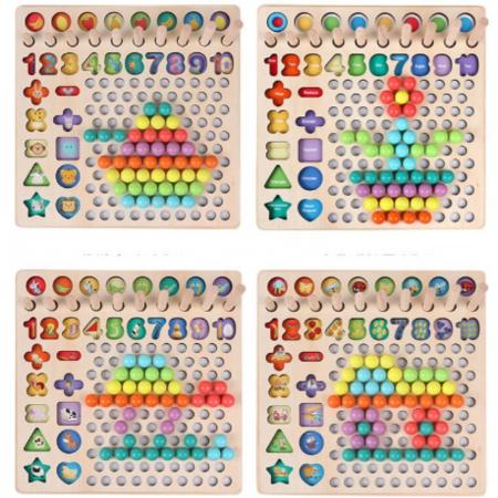Joc lemn 6 in 1 cu cifre, forme geometrice, logaritmic cu stivuire piese, pescuit magnetic, indemanare si sortare [4]