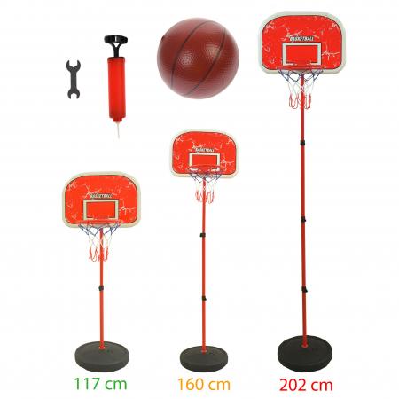 Set cos de baschet si minge, lungime reglabila, inaltime 202 cm, rosu - 0754801C [5]