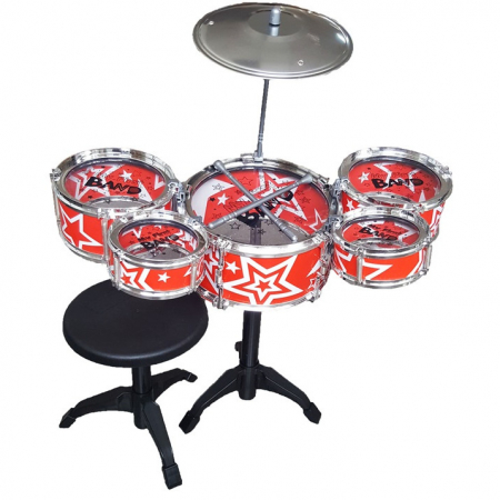 Set de tobe pentru copii Jazz Drum, cu scaunel, rosu [0]