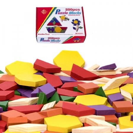 Joc educativ, Tangram din lemn, Joc asiatic cu 250 piese geometrice multicolore [6]