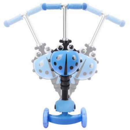 Trotineta 5 in 1 cu maner de impins si roti cu lumini Scooter OX11, albastra [1]