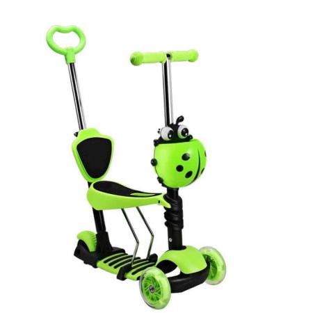 Trotineta 5 in 1 cu maner de impins si roti cu lumini Scooter OX11, verde [0]