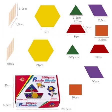 Joc educativ, Tangram din lemn, Joc asiatic cu 250 piese geometrice multicolore [5]