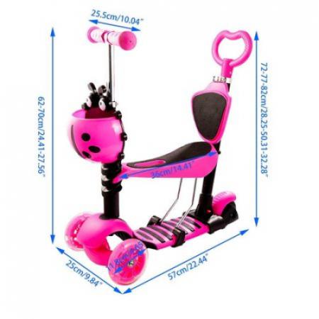 Trotineta 5 in 1 cu maner de impins si roti cu lumini Scooter OX11, roz [2]