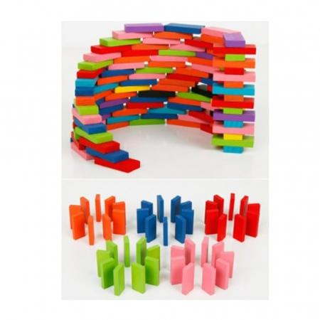 Joc din lemn, Domino cu piese colorate, 600 piese [6]
