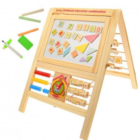 Jucarie de invatat, tablita creta si marker, matematica, alfabet, citire ceas - MMM380 [6]