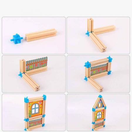 """Set de 128 de piese de construit din lemn natural pentru copii, """"Micul Arhitect"""", educational si creativ cu diferite ilustratii vesele [1]"""