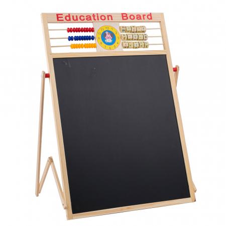 Tabla de scris din lemn, magnetica, educativa cu doua fete si suport, 64x47 cm, L15-6 [1]