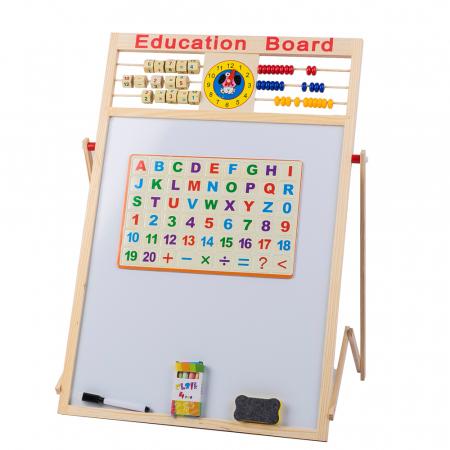 Tabla de scris din lemn, magnetica, educativa cu doua fete si suport, 64x47 cm, L15-6 [0]