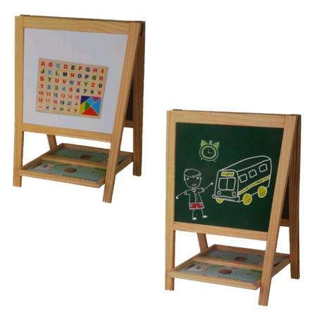 Tabla educativa din lemn, 3 in 1 sevalet, 51x34, Toyska [2]