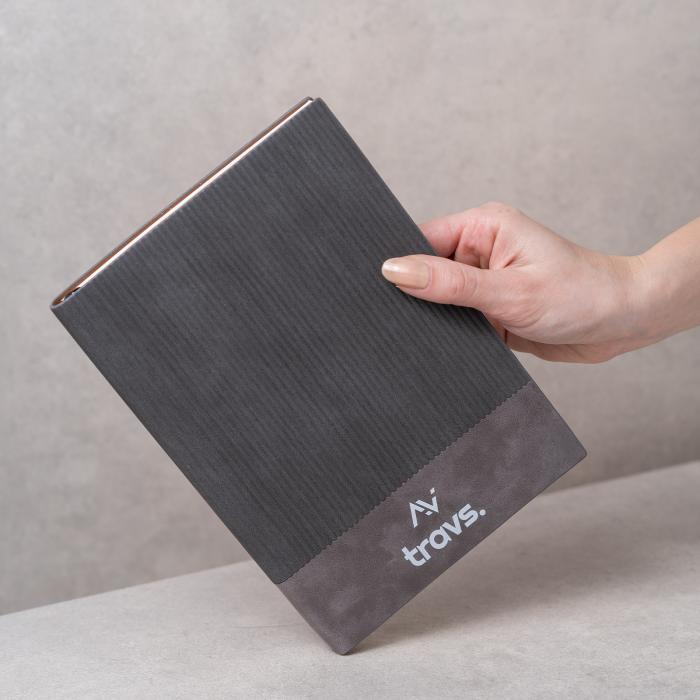 Agenda A5 STONE gri, 96 de pagini, coperta din piele ecologica [1]