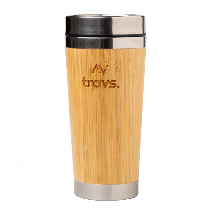 Cana termos LUSH natur din bambus si otel inoxidabil, perete dublu, 450 ml [0]