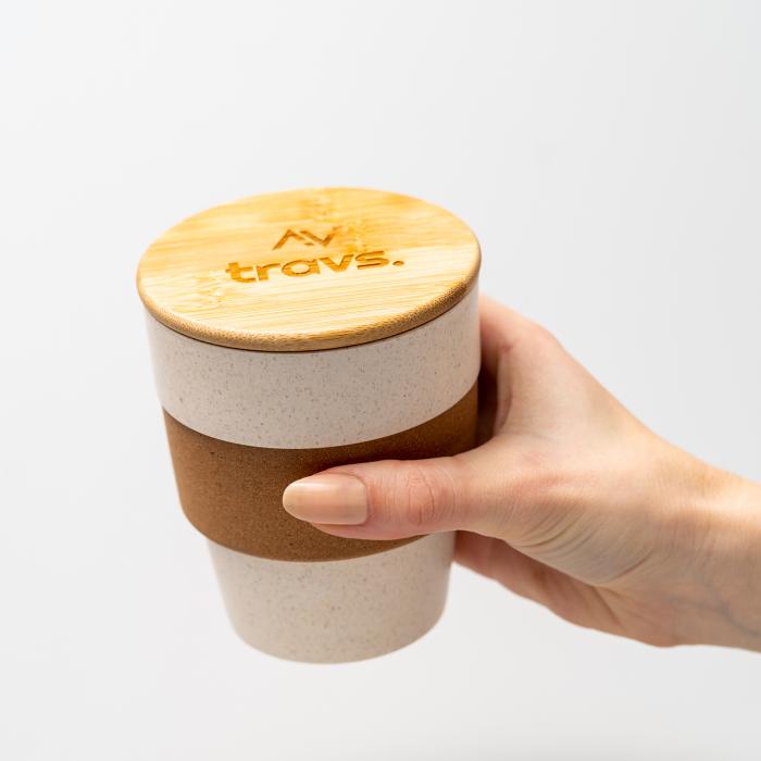 Cana cafea TROPIC din bambus, cu capac, 350 ml [1]