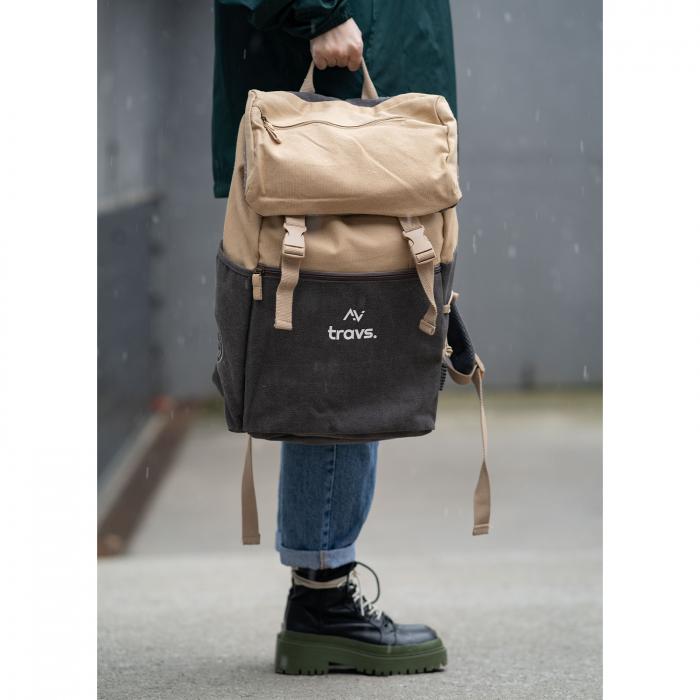 "Rucsac EXPLORATOR, 15.6"", maro, material textil si design vintage [3]"
