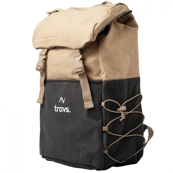 "Rucsac EXPLORATOR, 15.6"", maro, material textil si design vintage [1]"