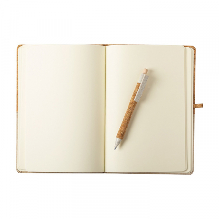 Agenda A5 PLUTO, 80 de pagini simple si coperta din pluta si bumbac,pix inclus [3]