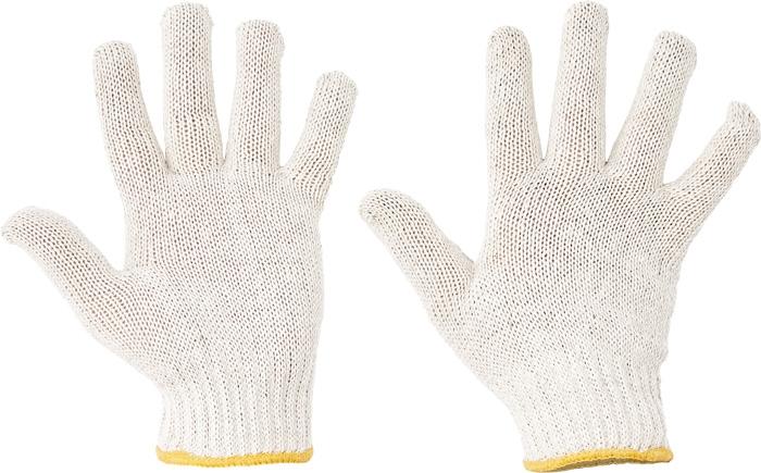 AUK, manusi tricotate din poliester-bumbac albit, cu manseta elastica 0