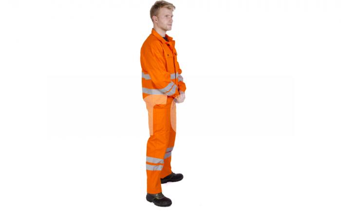 FILIP, Costum de salopeta cu pieptar din bumbac cu benzi reflectorizante, Culoare Portocaliu, Marimi S - XXXL 1