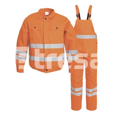 FILIP, Costum de salopeta cu pieptar din bumbac cu benzi reflectorizante, Culoare Portocaliu, Marimi S - XXXL 3