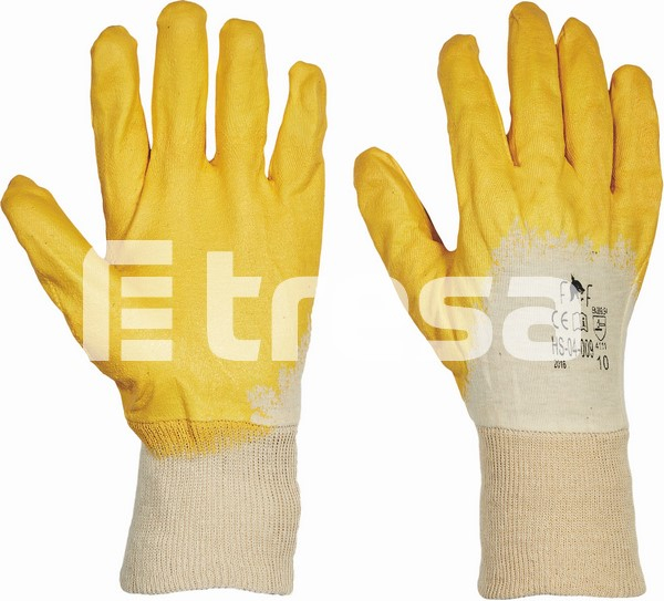 HS-04-009 HARRIER YELLOW ECO, Manusi de protectie din bumbac, imersate in nitril 1