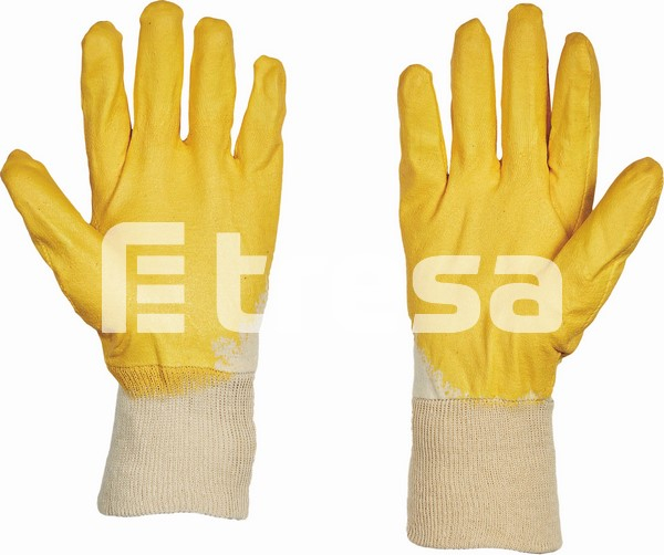HS-04-009 HARRIER YELLOW ECO, Manusi de protectie din bumbac, imersate in nitril 2