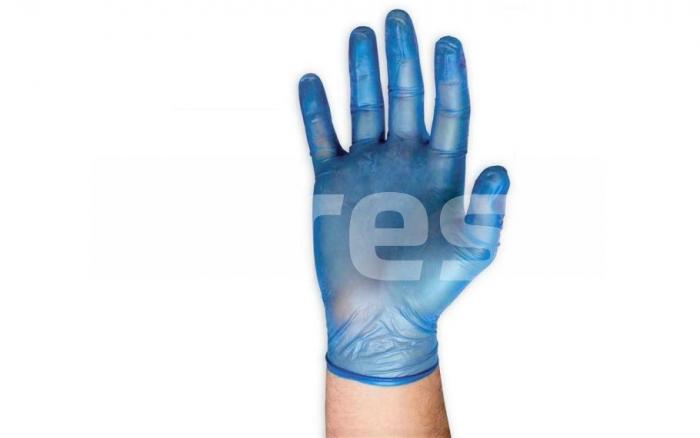 Manusi de unica folosinta din vinil pudrat, albastre, 100 buc [0]