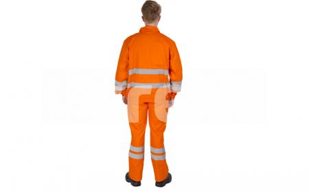 FILIP, Costum de salopeta cu pieptar din bumbac cu benzi reflectorizante, Culoare Portocaliu, Marimi S - XXXL2