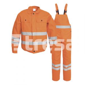 FILIP, Costum de salopeta cu pieptar din bumbac cu benzi reflectorizante, Culoare Portocaliu, Marimi S - XXXL3