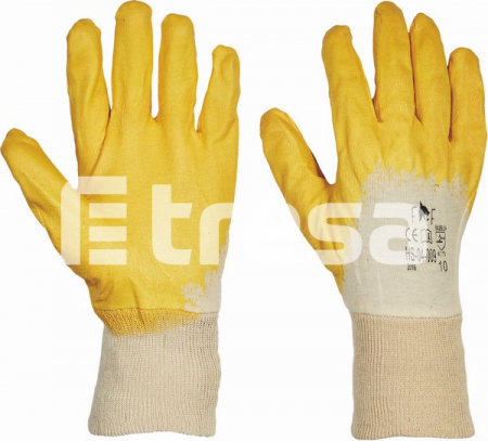 HS-04-009 HARRIER YELLOW ECO, Manusi de protectie din bumbac, imersate in nitril1