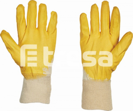 HS-04-009 HARRIER YELLOW ECO, Manusi de protectie din bumbac, imersate in nitril2