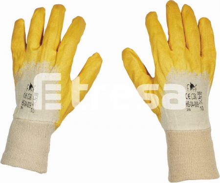 HS-04-009 HARRIER YELLOW ECO, Manusi de protectie din bumbac, imersate in nitril0
