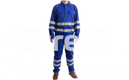 REFLEX, Costum salopeta cu benzi reflectorizante din bumbac si poliester0