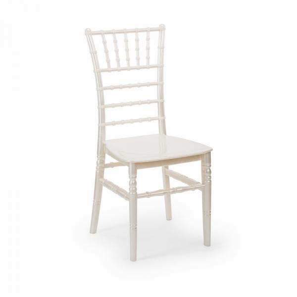 CHIAVARI alb perlat scaun plastic evenimente 0