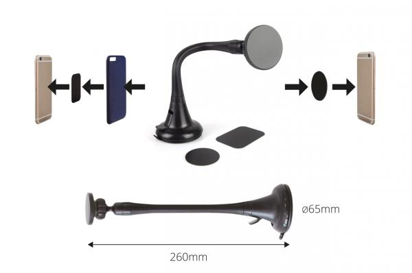 Suport magnetic pentru telefon cu ventuză HOLD-7 lungă 2