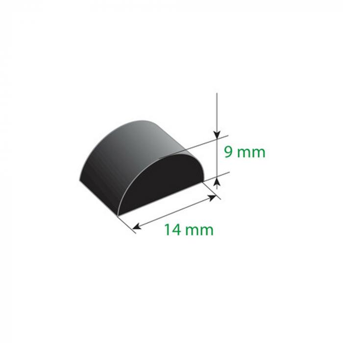 Cheder cauciucat universal cu adeziv 310cm - 14x9mm [2]