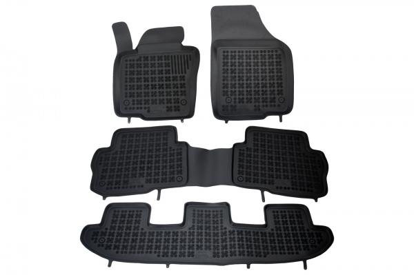 Covorase Presuri Auto Negru din Cauciuc Seat Alhambra, compatibil cu VW Sharan II (7 locuri) 2010- 0