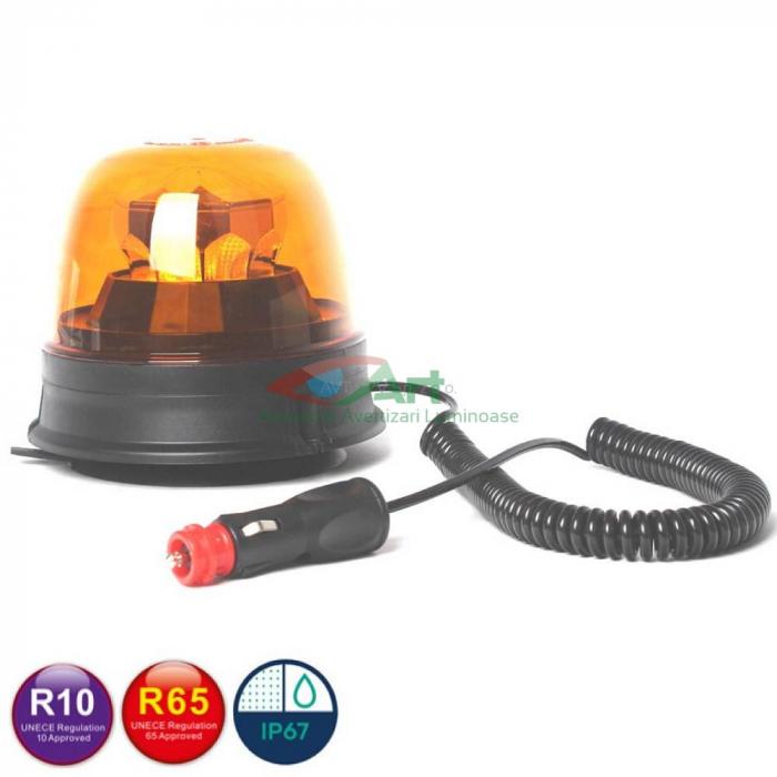 Girofar LED galben FI144 Diamant magnetic/fix 0