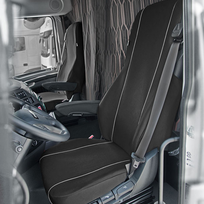 Huse scaun camion dedicate DAF XF set 1+1 locuri - Negru/Gri [0]
