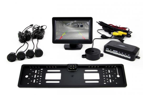 """Set de senzori TFT de 4,3 """"cu camera LED CAM-402 4 senzori negri [0]"""