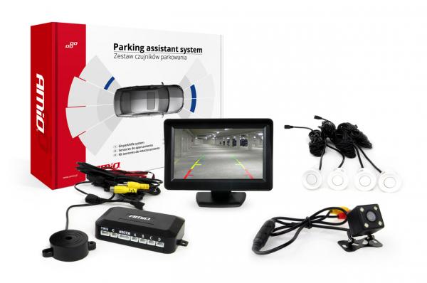 """Set de senzori de parcare TFT de 4,3 """"cu camera HD-315-LED 4 senzori albi [0]"""