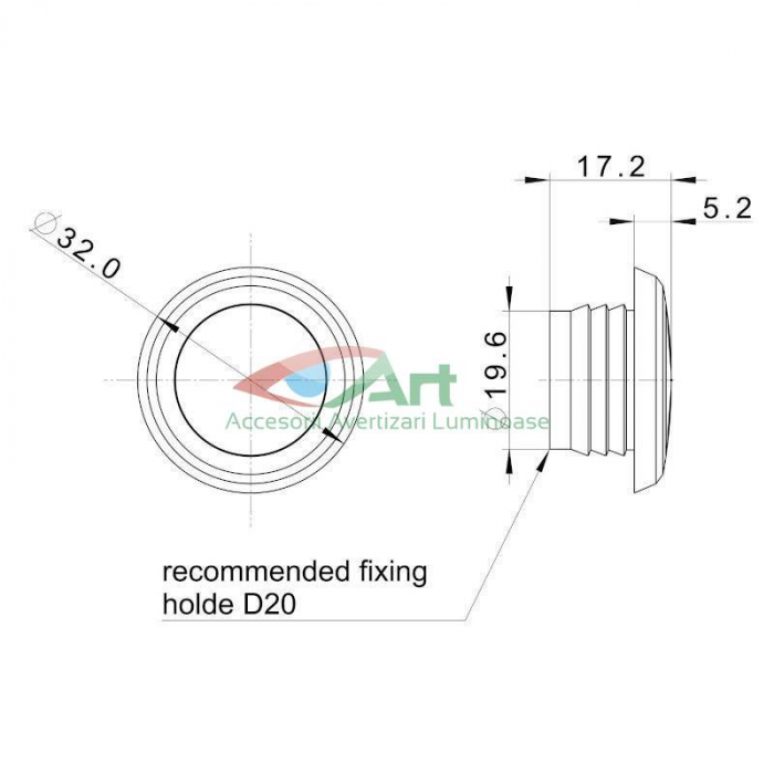 Lampa gabarit LED fi28 incastrabila rosie FT-074C Fristom 3