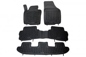 Covorase Presuri Auto Negru din Cauciuc Seat Alhambra, compatibil cu VW Sharan II (7 locuri) 2010-