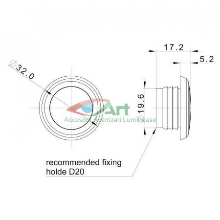 Lampa gabarit LED fi28 incastrabila rosie FT-074C Fristom3