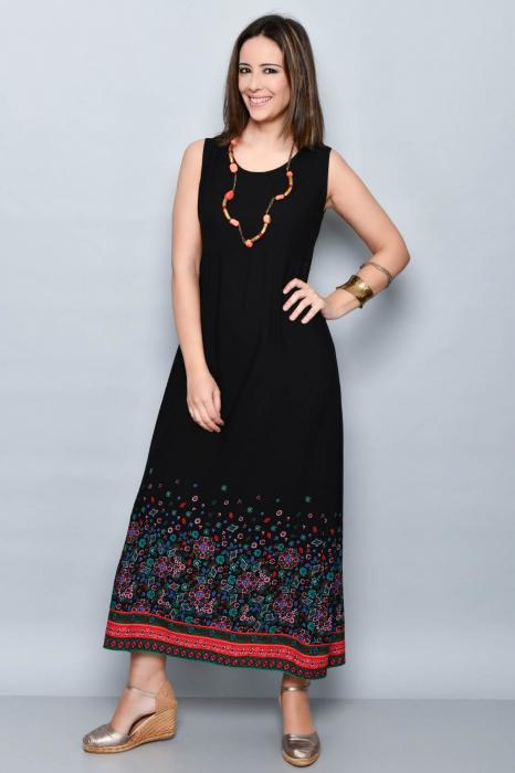 Rochie lunga neagra cu imprimeu - 08.VER21-1032 0