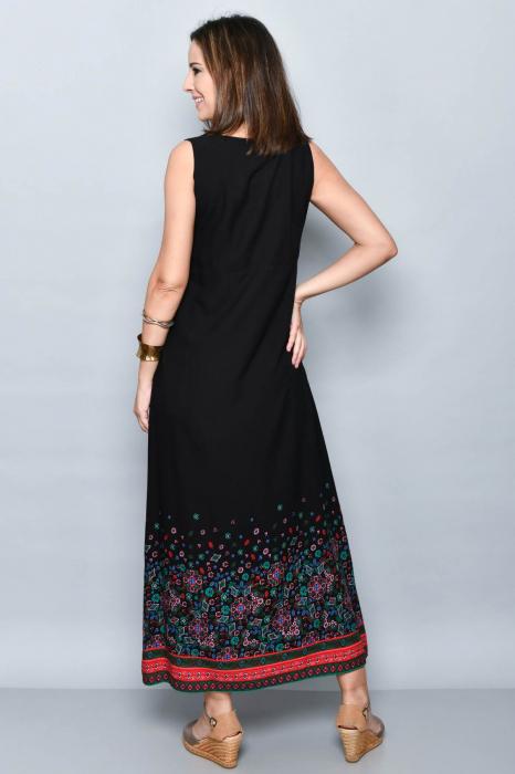 Rochie lunga neagra cu imprimeu - 08.VER21-1032 1